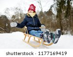 funny little girl having fun... | Shutterstock . vector #1177169419