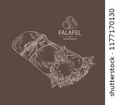 falafel in pita bread with... | Shutterstock .eps vector #1177170130