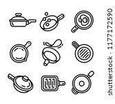 griddle icon set. outline set... | Shutterstock .eps vector #1177172590