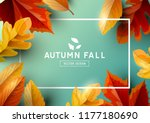 Stock vector autumn seasonal background frame with falling autumn leaves and room for text vector illustration 1177180690