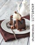 chocolate brownie with vanilla... | Shutterstock . vector #1177184269