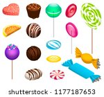 sweet candy icon set. isometric ... | Shutterstock .eps vector #1177187653