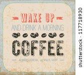 retro vintage coffee tin sign... | Shutterstock .eps vector #117718930