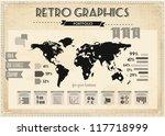 retro vector set of infographic ... | Shutterstock .eps vector #117718999