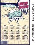 2019 retro comics book calendar ... | Shutterstock .eps vector #1177193926