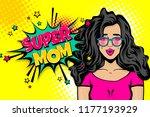 super mom wow face. caucasian... | Shutterstock .eps vector #1177193929