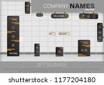 set signage.direction pole ... | Shutterstock .eps vector #1177204180