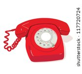 red retro phone | Shutterstock .eps vector #117720724