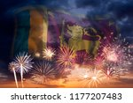 holiday sky with fireworks and... | Shutterstock . vector #1177207483