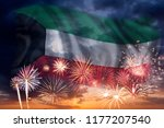 holiday sky with fireworks and... | Shutterstock . vector #1177207540