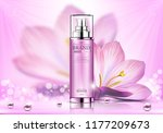 cosmetic spray ads  pink bottle ... | Shutterstock .eps vector #1177209673