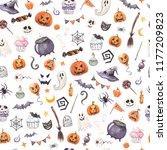 halloween background pattern... | Shutterstock . vector #1177209823