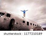 traveler man walking on the... | Shutterstock . vector #1177210189