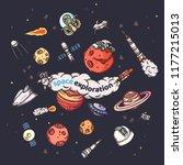 astronomy doodles vector...   Shutterstock .eps vector #1177215013