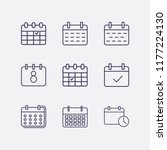 outline 9 month icon set.... | Shutterstock .eps vector #1177224130
