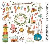 set of vintage christmas doodle  | Shutterstock .eps vector #1177239049
