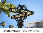 rodeo drive road marker in the... | Shutterstock . vector #1177240249