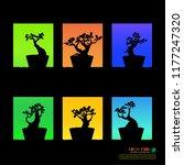 set of bonsai  black silhouette ... | Shutterstock .eps vector #1177247320