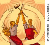 vintage propaganda style couple ... | Shutterstock .eps vector #1177250863
