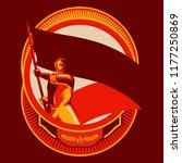 revolution badge. man holding... | Shutterstock .eps vector #1177250869