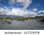 Outdoor Skatepark With Various...