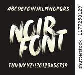 noir alphabet font. uppercase... | Shutterstock .eps vector #1177258129