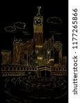 golden sketch of kaaba in mecca ... | Shutterstock .eps vector #1177265866