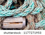 closeup of used braided blue... | Shutterstock . vector #1177271953