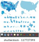 usa map set with gps icons | Shutterstock .eps vector #117727393