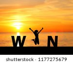 silhouette young woman jumping...   Shutterstock . vector #1177275679