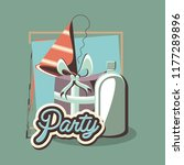 birthday gift and party hat... | Shutterstock .eps vector #1177289896