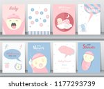 set of baby shower invitations... | Shutterstock .eps vector #1177293739