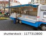 a woman customer making a... | Shutterstock . vector #1177313800