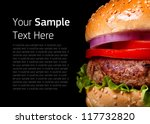 burger isolated on black... | Shutterstock . vector #117732820
