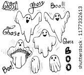 whisper ghost hand draw set.... | Shutterstock . vector #1177332613