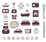 hotel and room service icons set | Shutterstock .eps vector #117733420