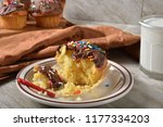 a birthday cupcake with a... | Shutterstock . vector #1177334203