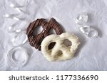 overhead view of milk and white ... | Shutterstock . vector #1177336690