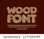 vector wooden textured font.... | Shutterstock .eps vector #1177342399