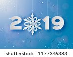 2019  merry christmas and happy ... | Shutterstock .eps vector #1177346383