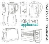 vector set of kitchen...   Shutterstock .eps vector #1177354903