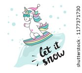 cute unicorn on snowboard and... | Shutterstock .eps vector #1177371730