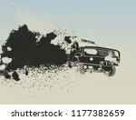 off road car moving fast with a ... | Shutterstock .eps vector #1177382659