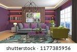 interior of the living room. 3d ... | Shutterstock . vector #1177385956