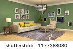 interior of the living room. 3d ... | Shutterstock . vector #1177388080