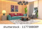 interior of the living room. 3d ... | Shutterstock . vector #1177388089