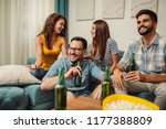 group of young friends having... | Shutterstock . vector #1177388809