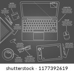 set of objects for comfortable... | Shutterstock .eps vector #1177392619