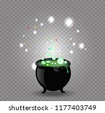black witch cauldron with green ... | Shutterstock .eps vector #1177403749