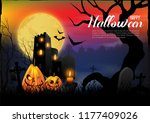 halloween background with the... | Shutterstock .eps vector #1177409026
